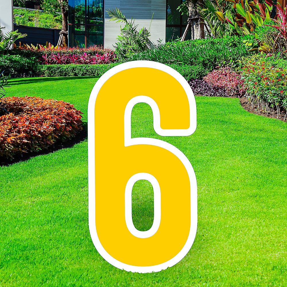 Giant Yellow Corrugated Plastic Number (6) Yard Sign, 30in Image #1