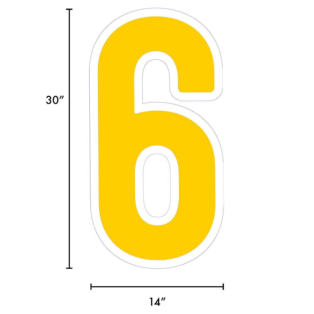 Giant Yellow Corrugated Plastic Number (6) Yard Sign, 30in Image #2