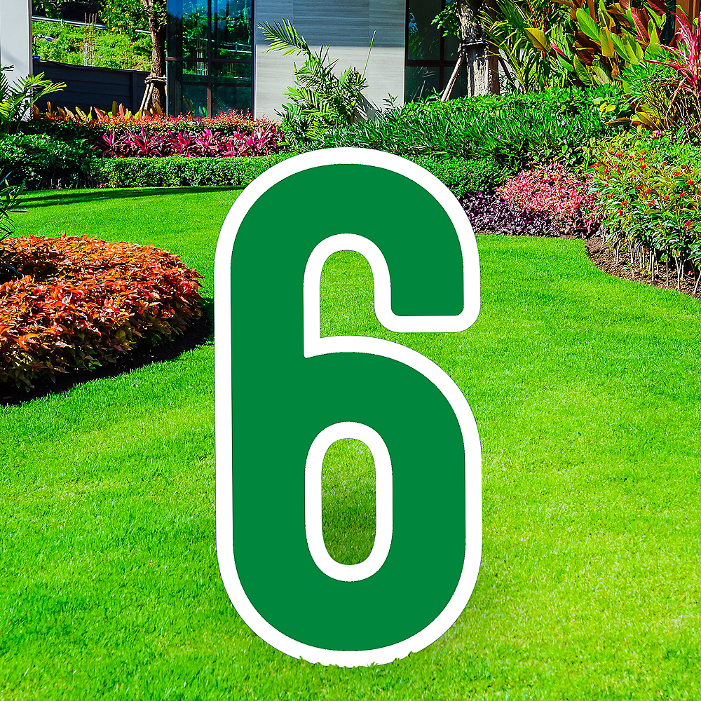 Giant Festive Green Corrugated Plastic Number (6) Yard Sign, 30in Image #1
