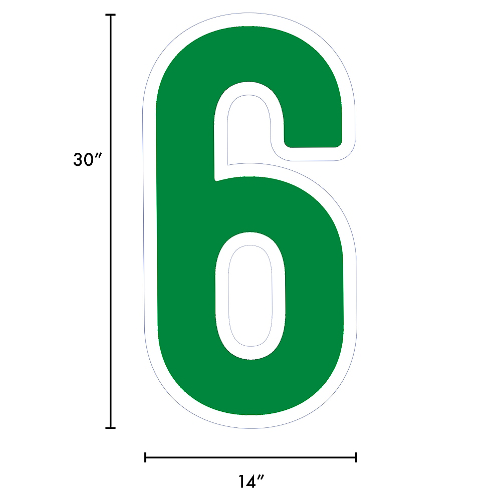 Giant Festive Green Corrugated Plastic Number (6) Yard Sign, 30in Image #2