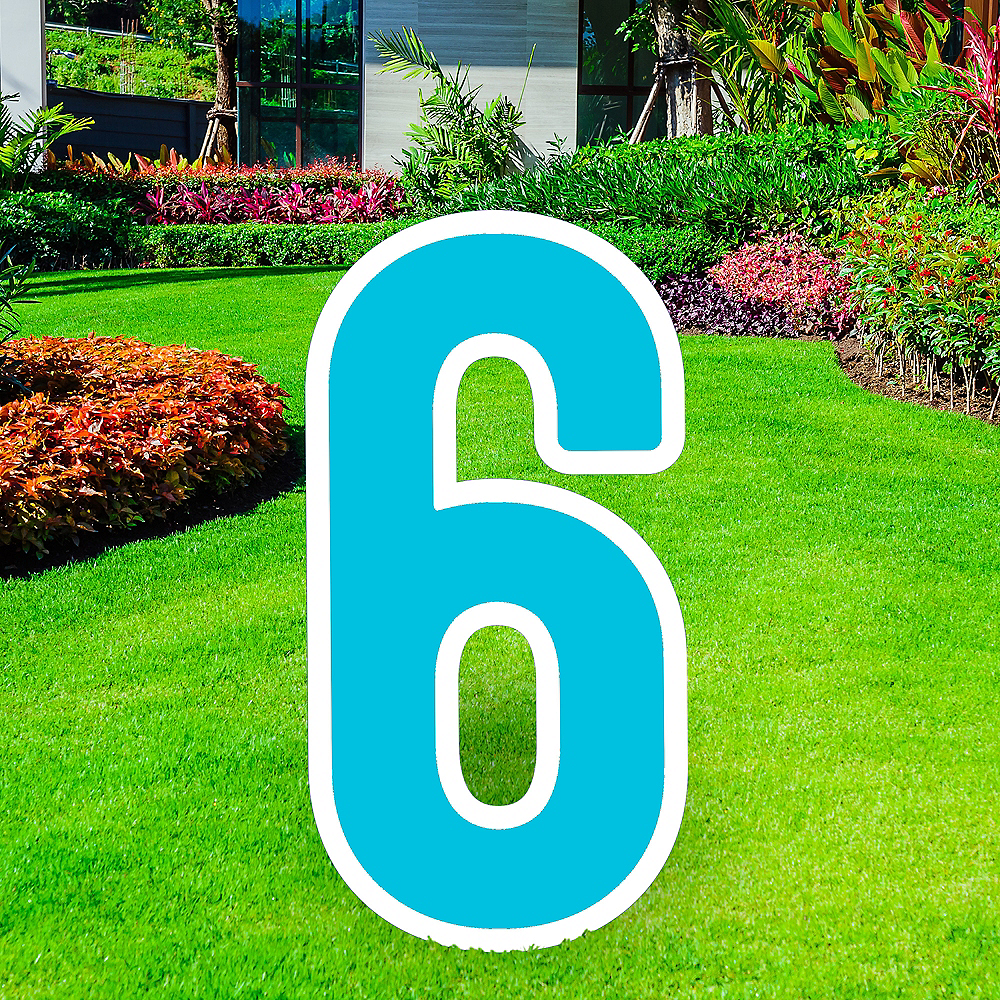 Giant Caribbean Blue Corrugated Plastic Number (6) Yard Sign, 30in Image #1