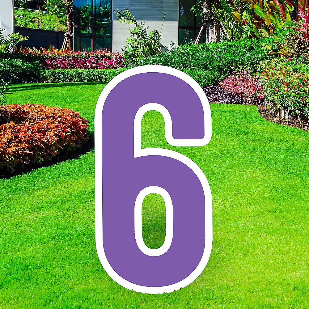 Giant Purple Corrugated Plastic Number (6) Yard Sign, 30in Image #1