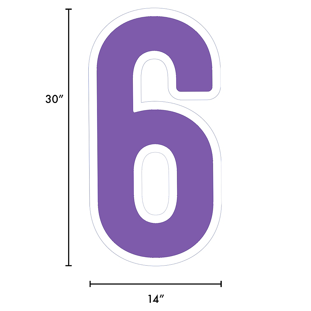Giant Purple Corrugated Plastic Number (6) Yard Sign, 30in Image #2