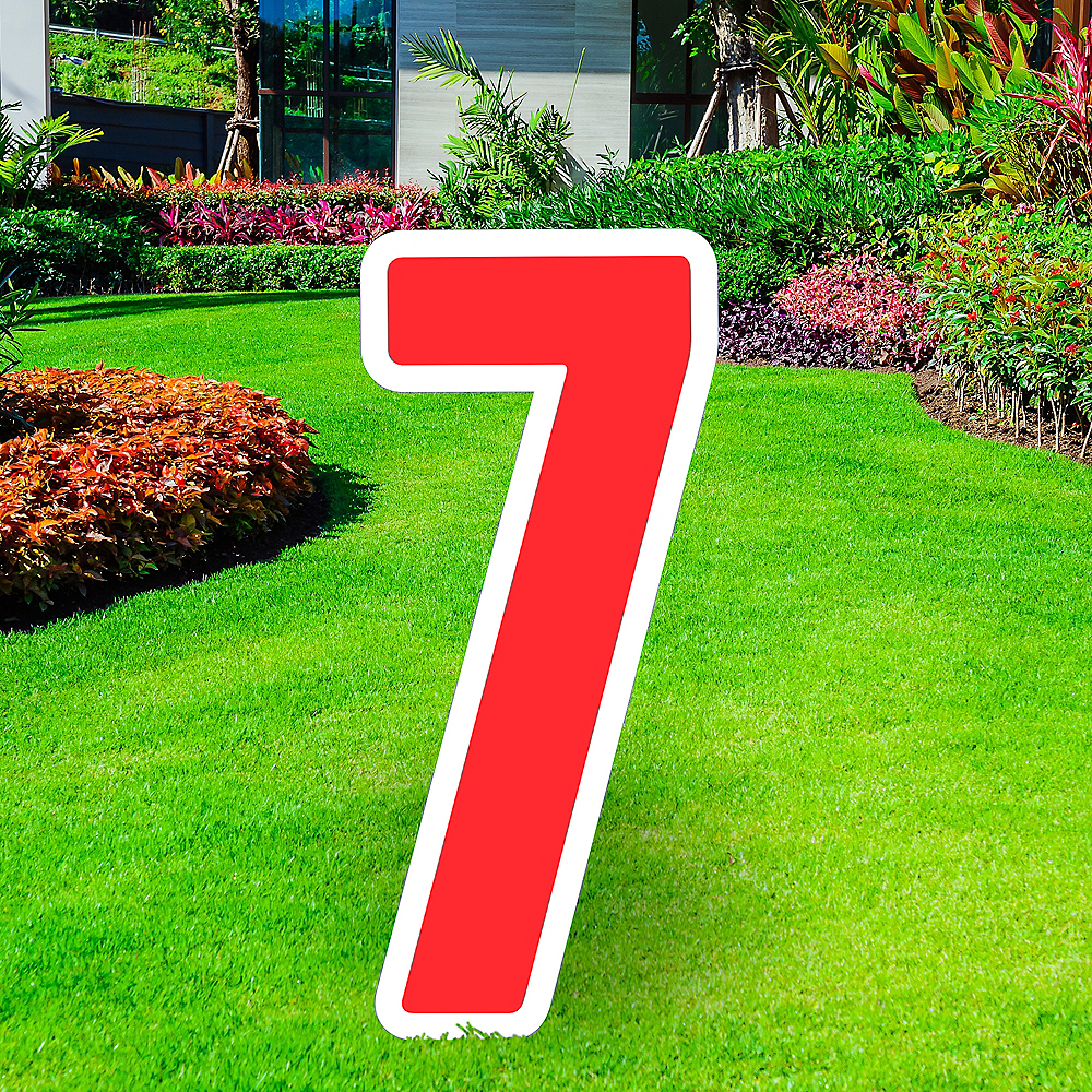 Giant Red Corrugated Plastic Number (7) Yard Sign, 30in Image #1