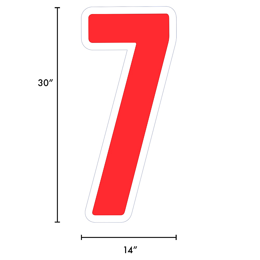Giant Red Corrugated Plastic Number (7) Yard Sign, 30in Image #2