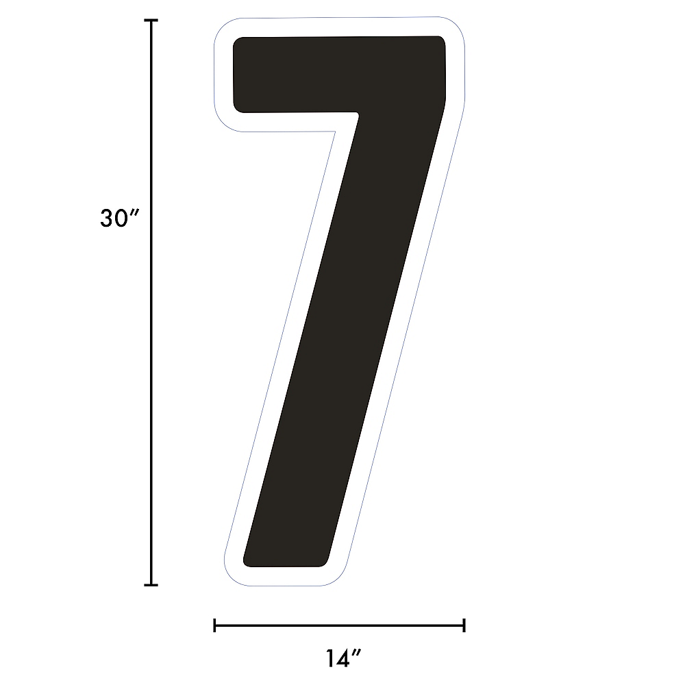 Giant Black Corrugated Plastic Number (7) Yard Sign, 30in Image #2