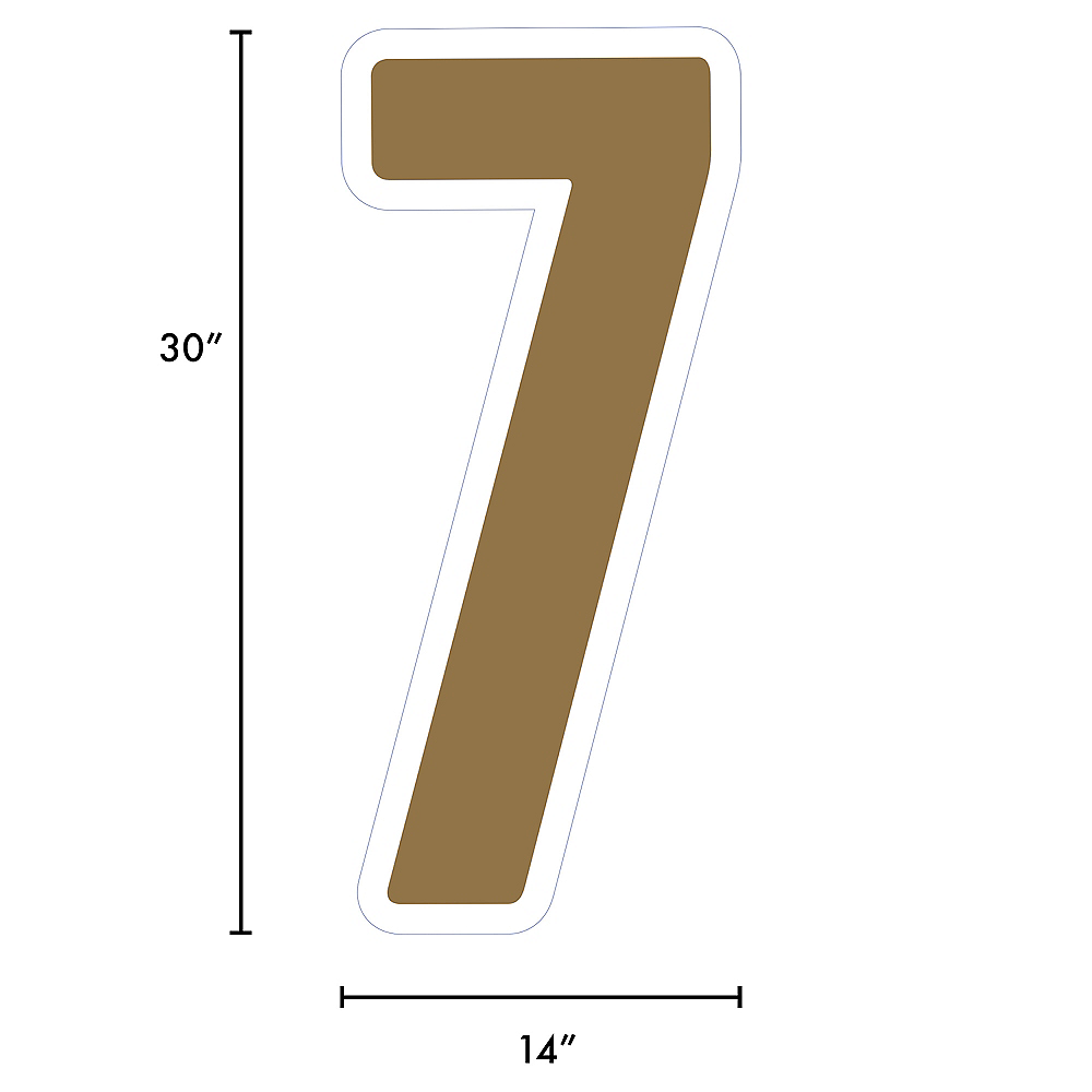 Giant Gold Corrugated Plastic Number (7) Yard Sign, 30in Image #2