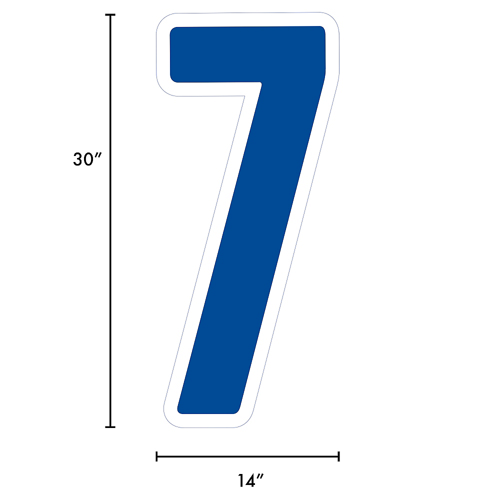 Giant Royal Blue Corrugated Plastic Number (7) Yard Sign, 30in Image #2