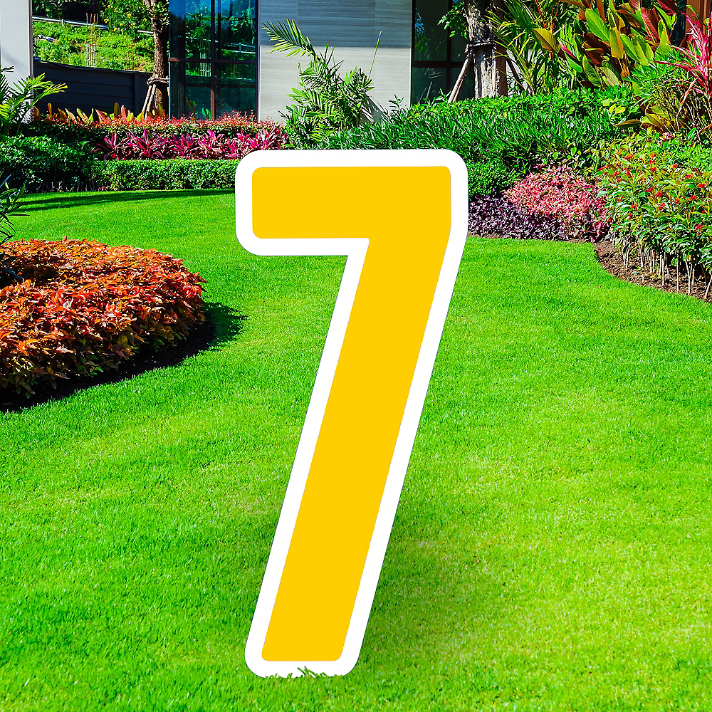 Giant Yellow Corrugated Plastic Number (7) Yard Sign, 30in Image #1
