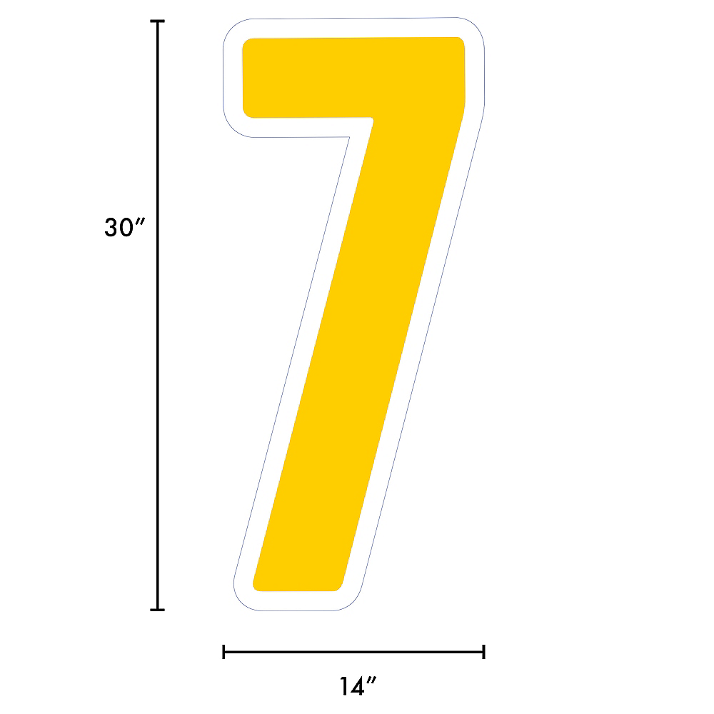 Giant Yellow Corrugated Plastic Number (7) Yard Sign, 30in Image #2