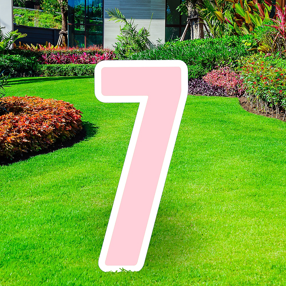 Giant Blush Pink Corrugated Plastic Number (7) Yard Sign, 30in Image #1