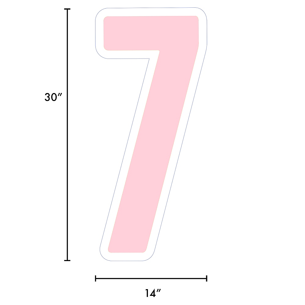 Giant Blush Pink Corrugated Plastic Number (7) Yard Sign, 30in Image #2