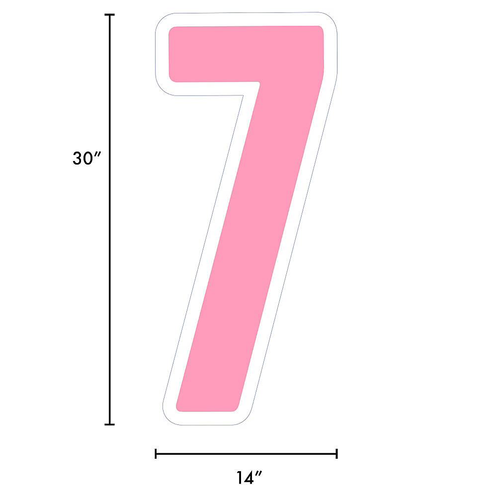 Giant Pink Corrugated Plastic Number (7) Yard Sign, 30in Image #2