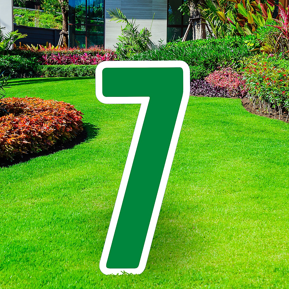Giant Festive Green Corrugated Plastic Number (7) Yard Sign, 30in Image #1