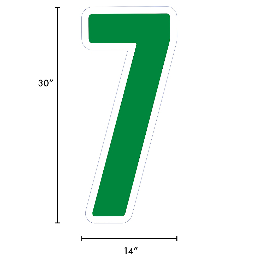 Giant Festive Green Corrugated Plastic Number (7) Yard Sign, 30in Image #2