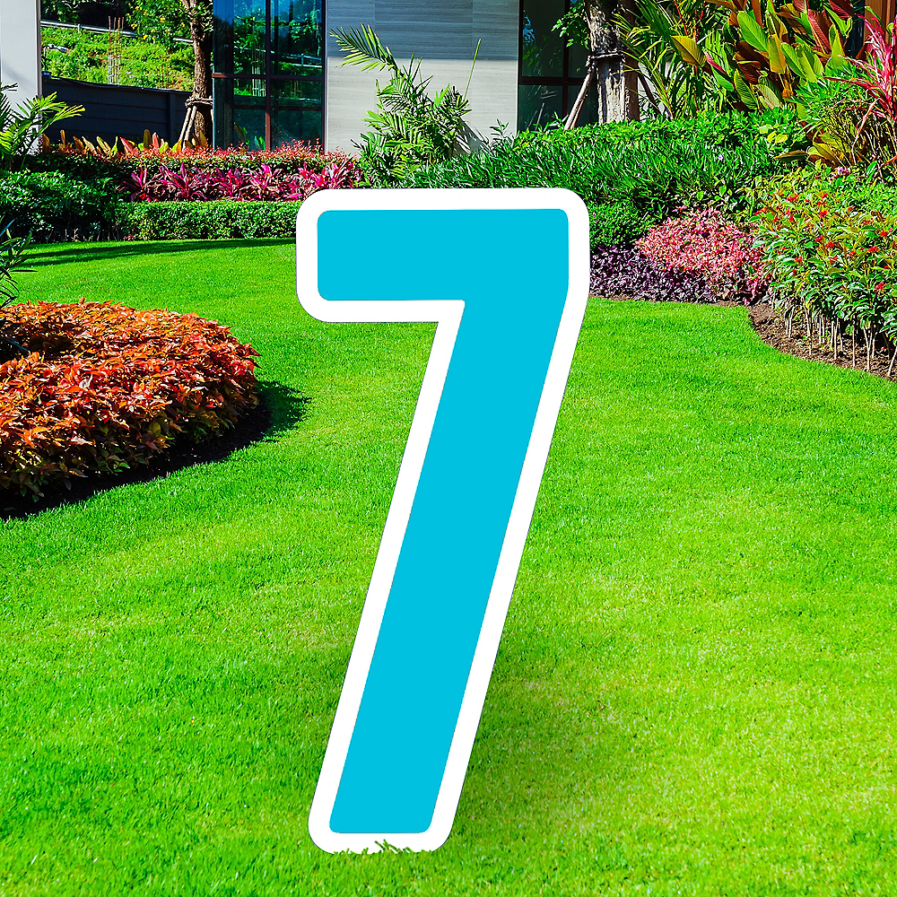 Giant Caribbean Blue Corrugated Plastic Number (7) Yard Sign, 30in Image #1