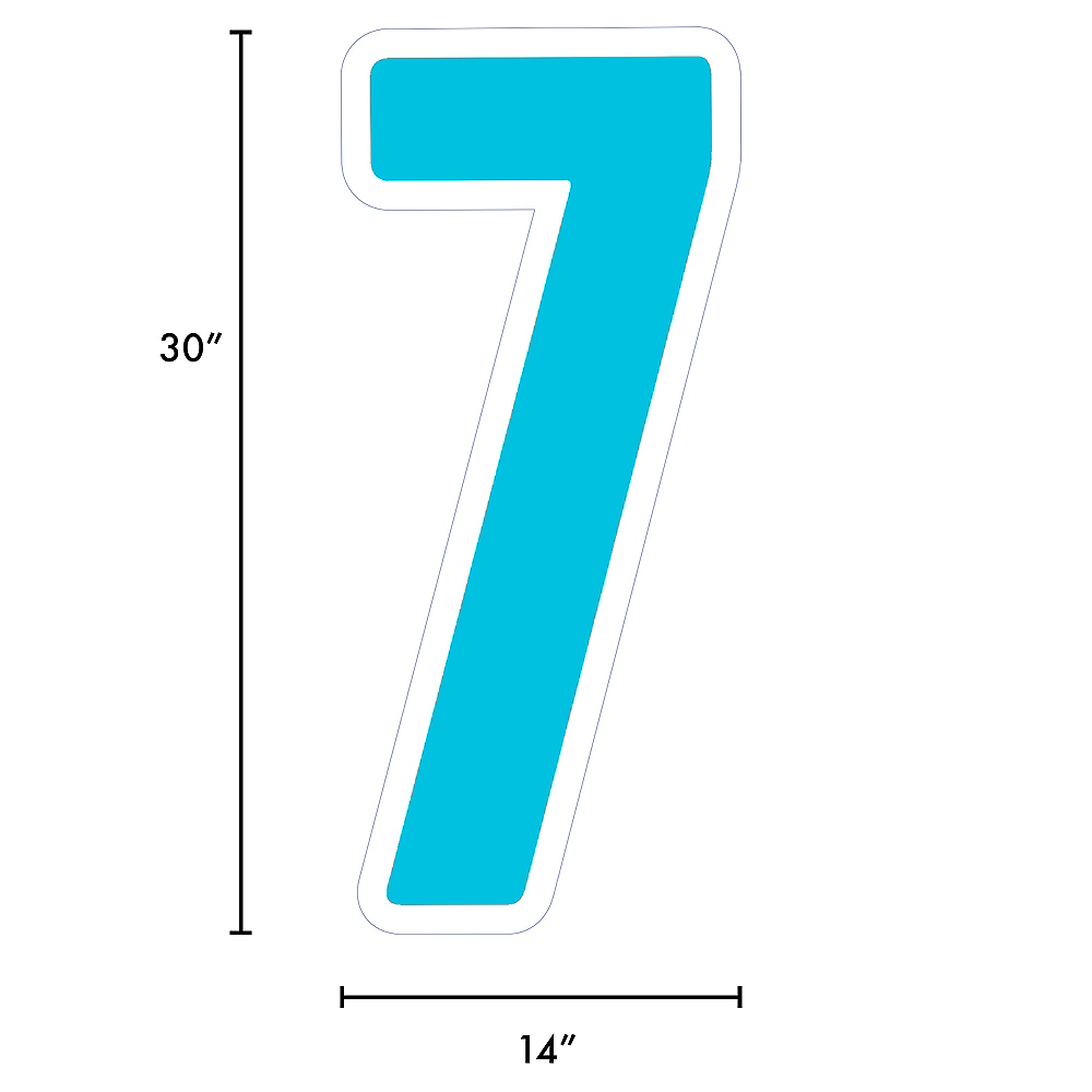 Giant Caribbean Blue Corrugated Plastic Number (7) Yard Sign, 30in Image #2