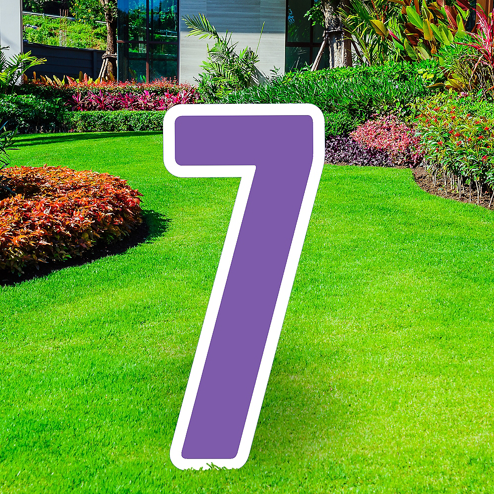Giant Purple Corrugated Plastic Number (7) Yard Sign, 30in Image #1