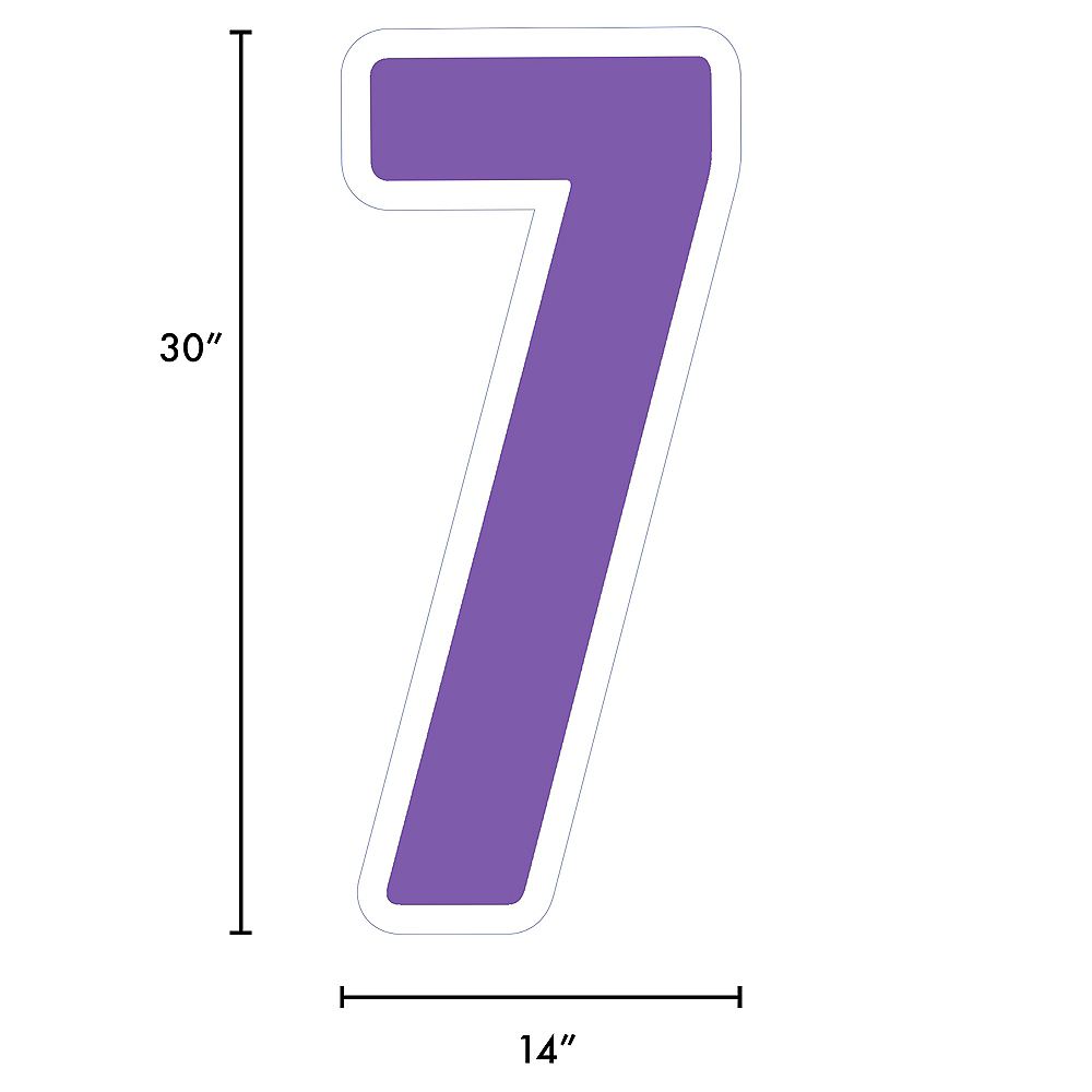 Giant Purple Corrugated Plastic Number (7) Yard Sign, 30in Image #2