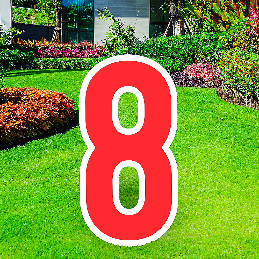 Giant Red Corrugated Plastic Number (8) Yard Sign, 30in Image #1