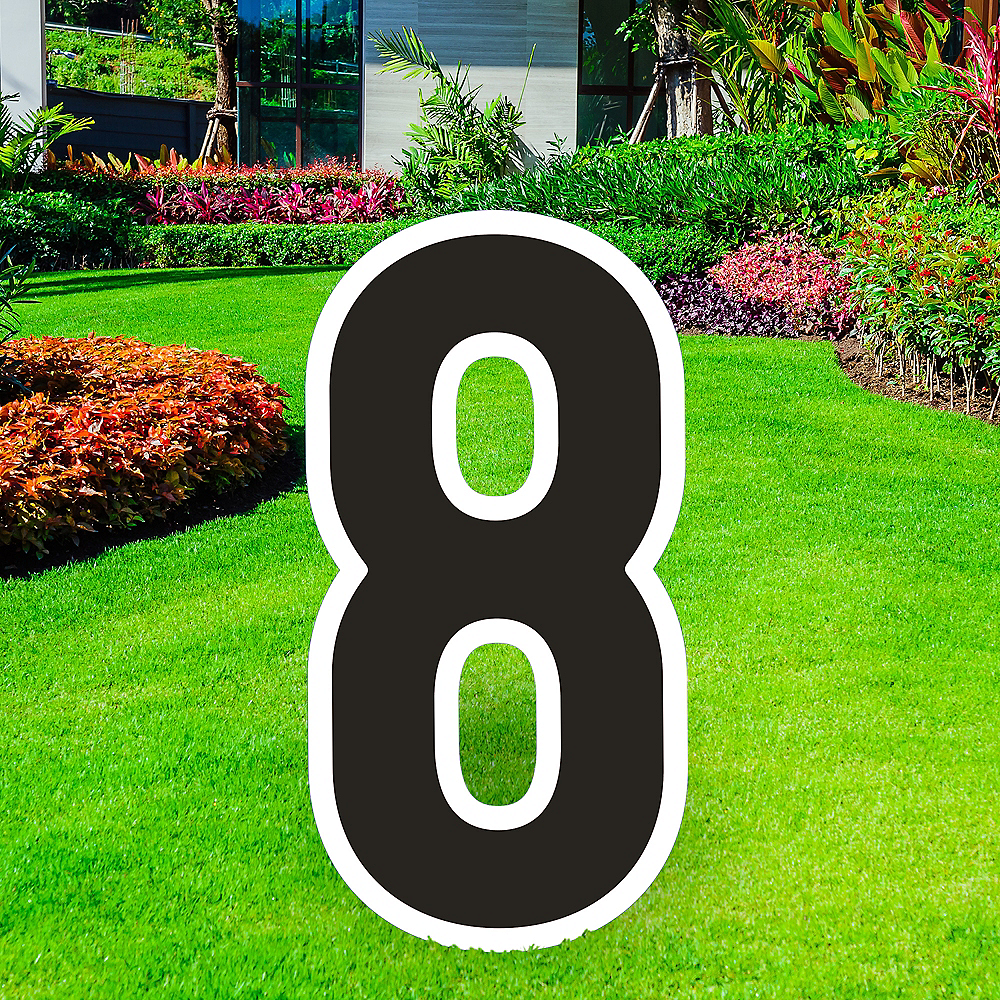 Giant Black Corrugated Plastic Number (8) Yard Sign, 30in Image #1