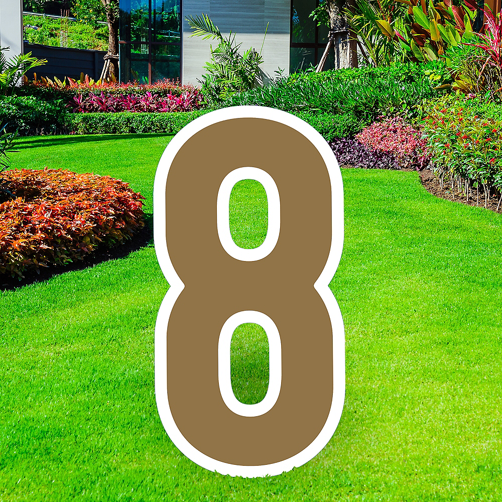 Giant Gold Corrugated Plastic Number (8) Yard Sign, 30in Image #1