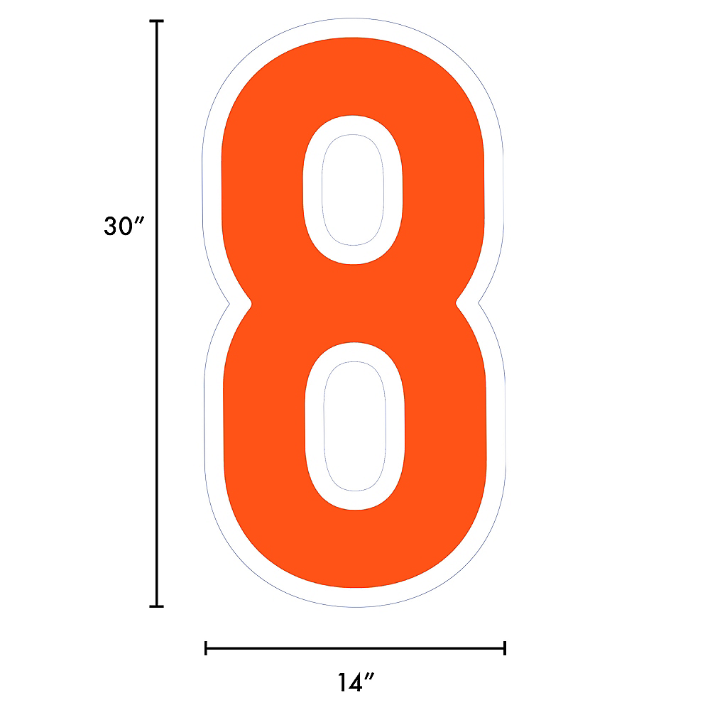 Giant Orange Corrugated Plastic Number (8) Yard Sign, 30in Image #2