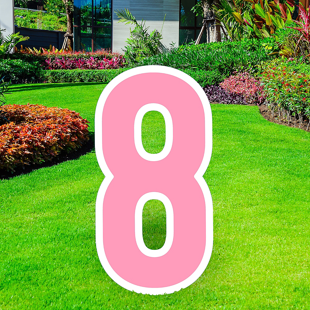 Giant Pink Corrugated Plastic Number (8) Yard Sign, 30in Image #1