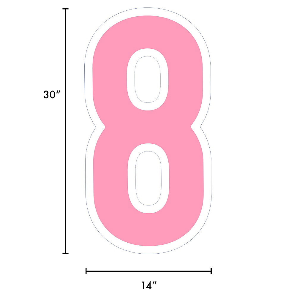 Giant Pink Corrugated Plastic Number (8) Yard Sign, 30in Image #2