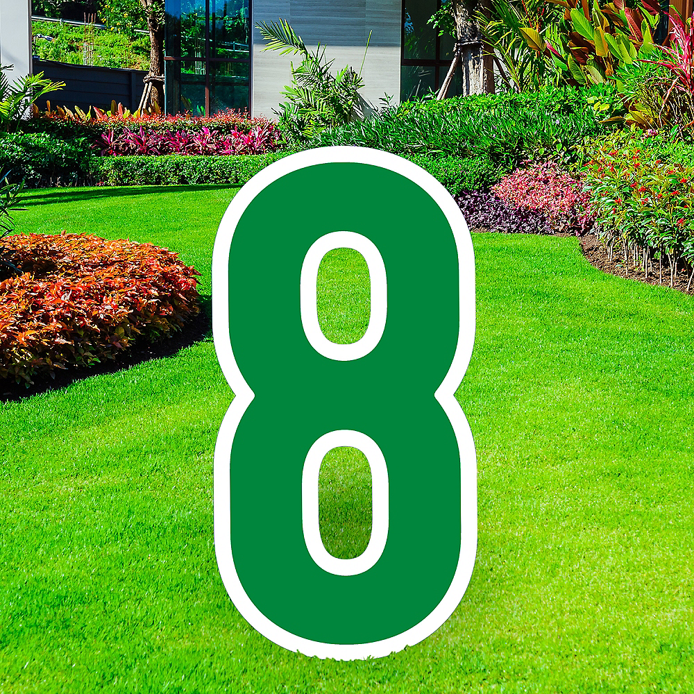 Nav Item for Giant Festive Green Corrugated Plastic Number (8) Yard Sign, 30in Image #1