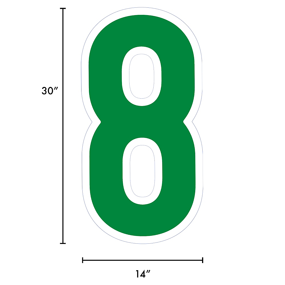 Giant Festive Green Corrugated Plastic Number (8) Yard Sign, 30in Image #2