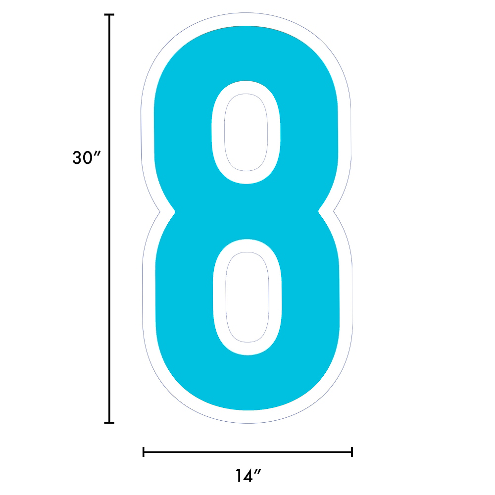 Giant Caribbean Blue Corrugated Plastic Number (8) Yard Sign, 30in Image #2