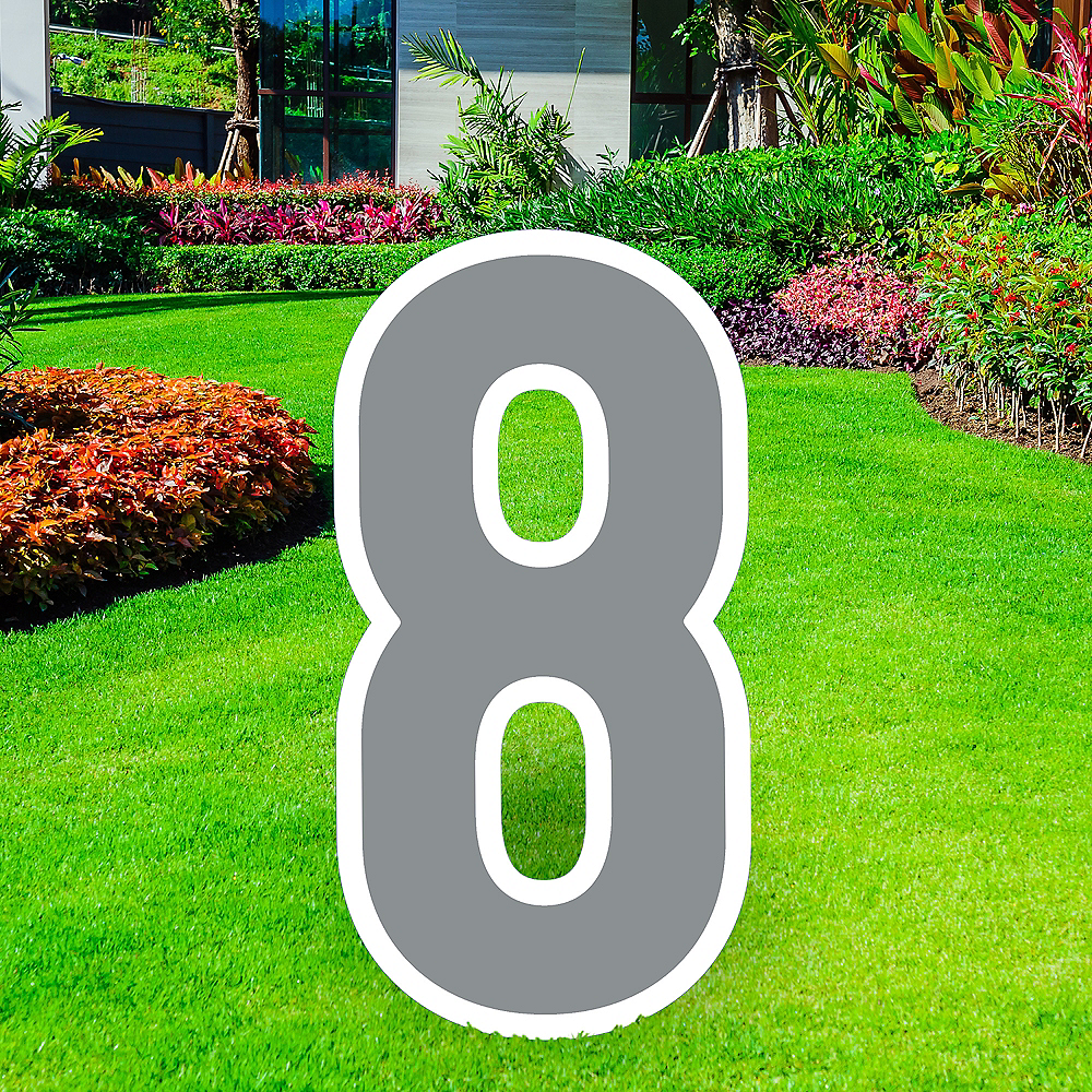 Giant Silver Corrugated Plastic Number (8) Yard Sign, 30in Image #1