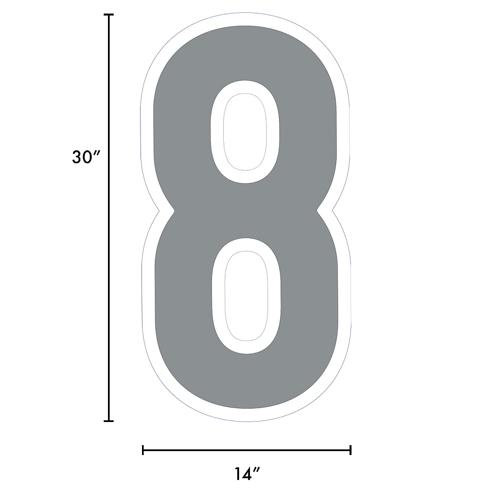 Giant Silver Corrugated Plastic Number (8) Yard Sign, 30in Image #2