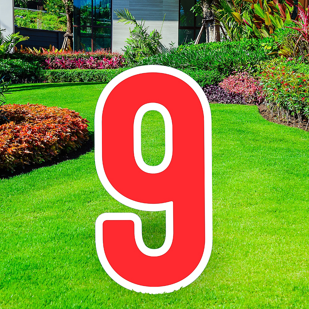 Giant Red Corrugated Plastic Number (9) Yard Sign, 30in Image #1