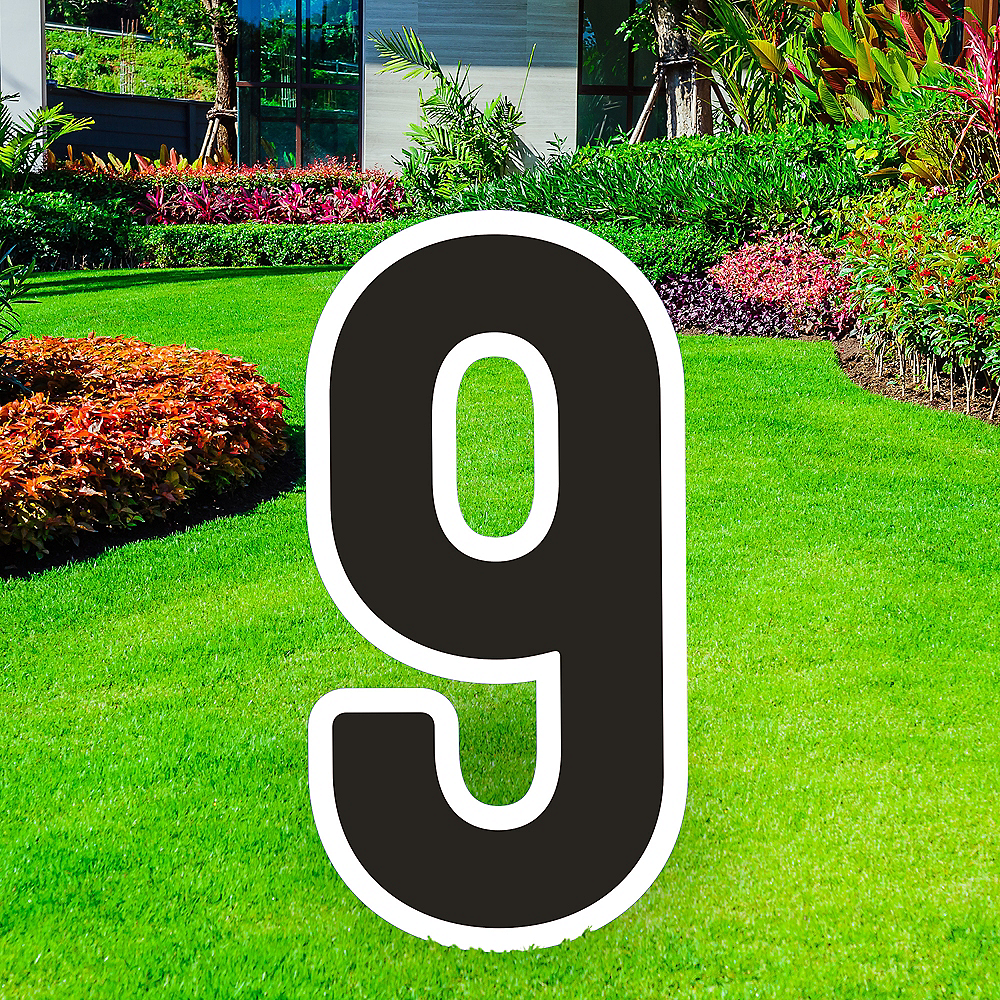 Giant Black Corrugated Plastic Number (9) Yard Sign, 30in Image #1