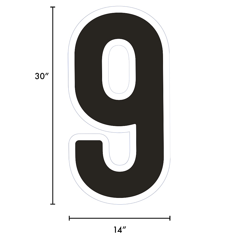 Giant Black Corrugated Plastic Number (9) Yard Sign, 30in Image #2