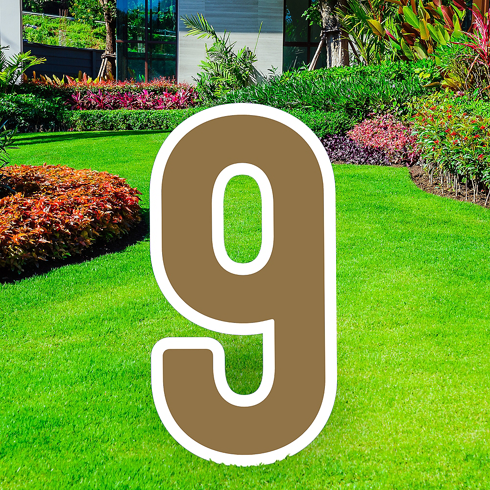 Giant Gold Corrugated Plastic Number (9) Yard Sign, 30in Image #1