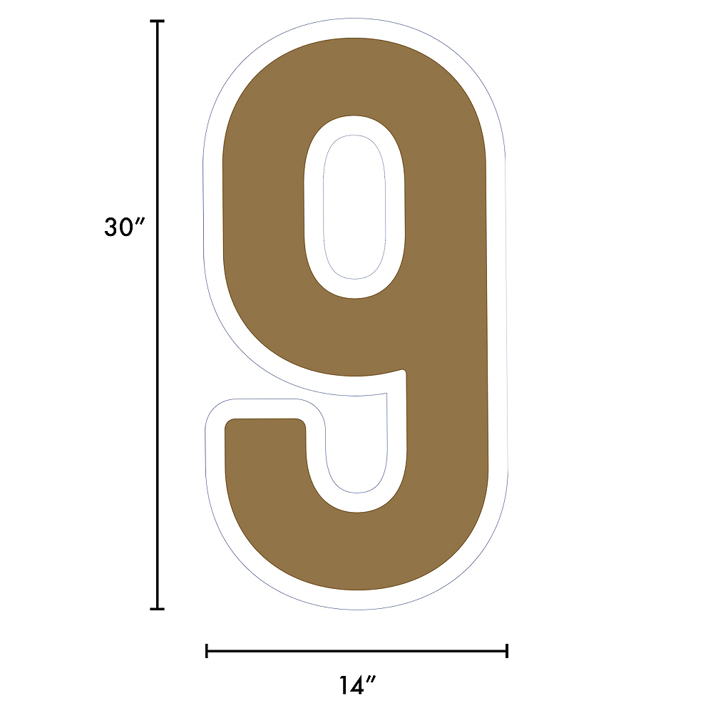 Giant Gold Corrugated Plastic Number (9) Yard Sign, 30in Image #2