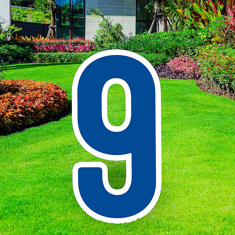 Giant Royal Blue Corrugated Plastic Number (9) Yard Sign, 30in Image #1