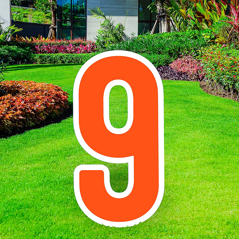 Giant Orange Corrugated Plastic Number (9) Yard Sign, 30in Image #1