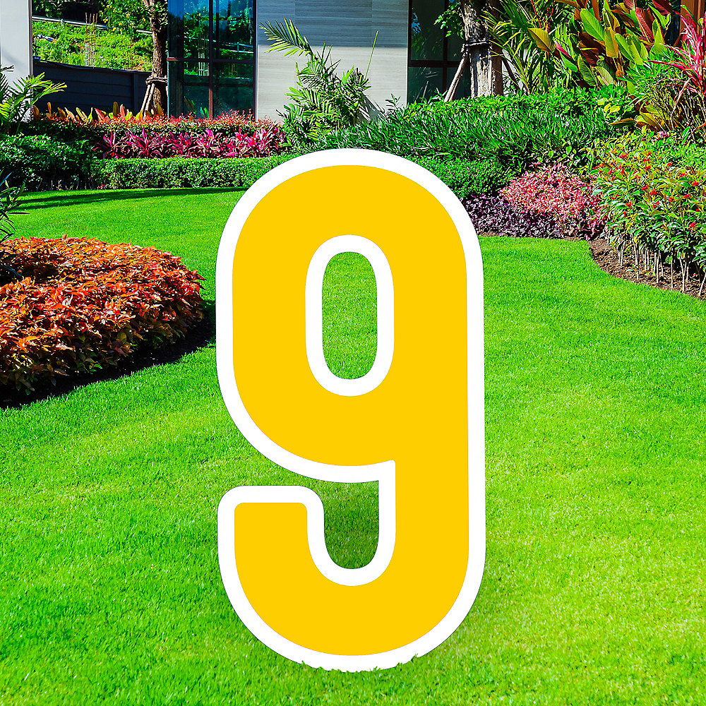 Giant Yellow Corrugated Plastic Number (9) Yard Sign, 30in Image #1