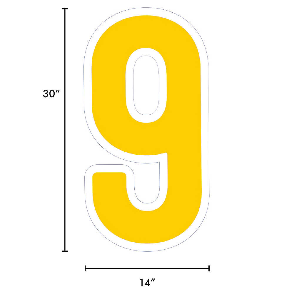 Giant Yellow Corrugated Plastic Number (9) Yard Sign, 30in Image #2
