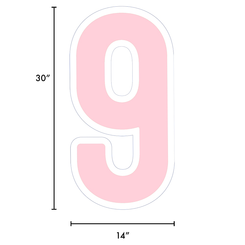 Giant Blush Pink Corrugated Plastic Number (9) Yard Sign, 30in Image #2
