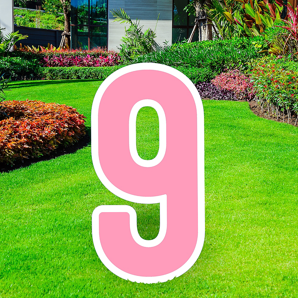 Giant Pink Corrugated Plastic Number (9) Yard Sign, 30in Image #1
