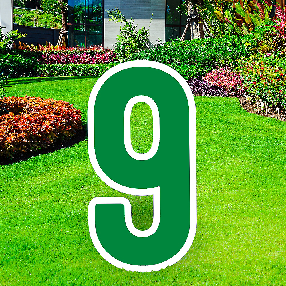 Giant Festive Green Corrugated Plastic Number (9) Yard Sign, 30in Image #1