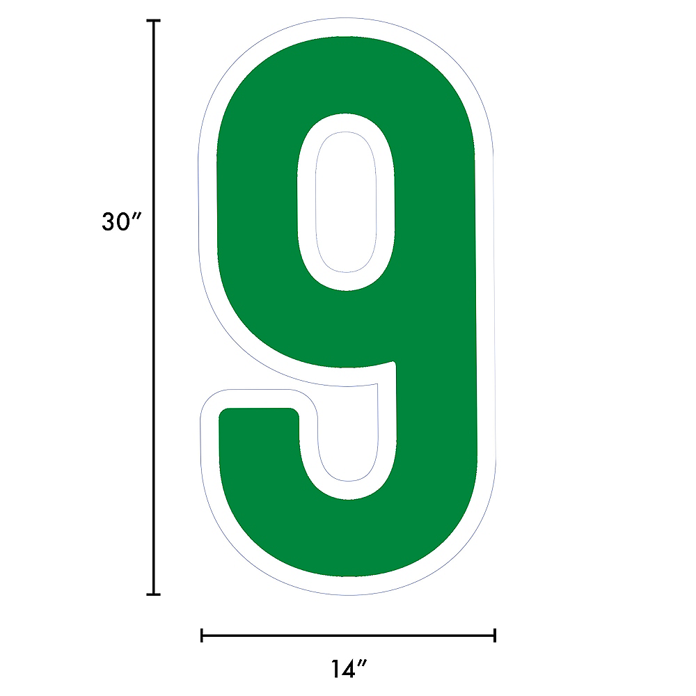 Giant Festive Green Corrugated Plastic Number (9) Yard Sign, 30in Image #2