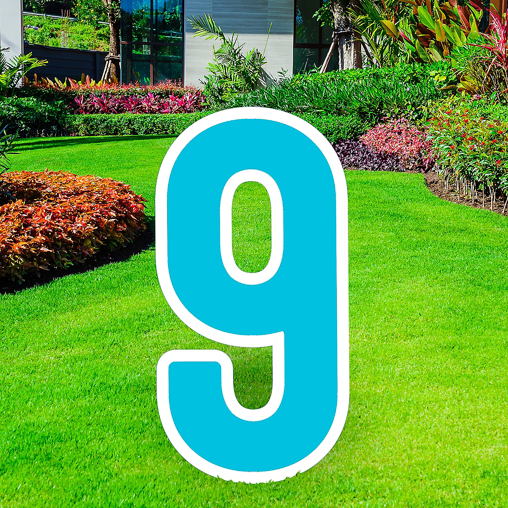 Giant Caribbean Blue Corrugated Plastic Number (9) Yard Sign, 30in Image #1