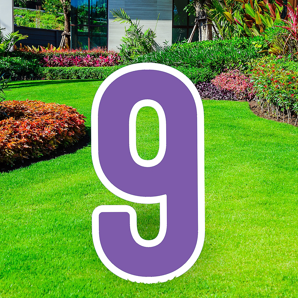Giant Purple Corrugated Plastic Number (9) Yard Sign, 30in Image #1