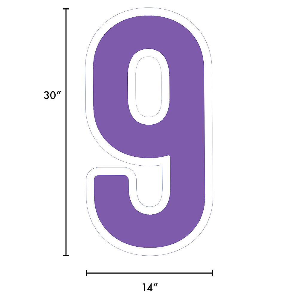 Giant Purple Corrugated Plastic Number (9) Yard Sign, 30in Image #2